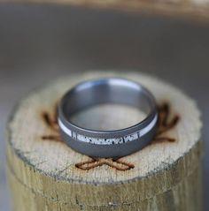 Titanium Sandblasted Ring with Narrow Offset Antler Inlay