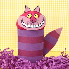 chesher cat craft - cute for alice in wonderland party. possible decor for an AiW-themed community builder?