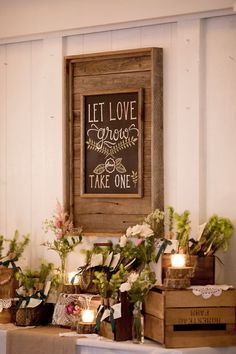 Adore this favor table set up -- so organic and whimsical! #cedarwoodweddings #rusticweddings #outdoorweddings