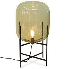 light ODA MEDIUM amber/black - Oda is big. Oda is a reservoir of light. Oda is a huge floor lamp for the living room- next to your sofa or armchair. Sebastian Herkner's aim was to create a repository Interior Lighting, Lighting Design, Glass Floor Lamp, Floor Lamps, Led Filament, Kartell, Luminaire Design, Light Table, Led Lamp