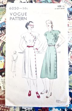 Vintage 1940s Womens Cap Sleeve Side Buttoned Dress Pattern - Vogue 6050 by Fragolina on Etsy