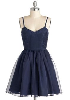 Navy Too Late Dress - Blue, Solid, Party, Spaghetti Straps, Short, Ballerina / Tutu, Sweetheart, Prom