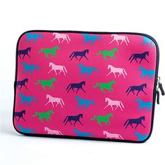 Kelley Equestrian Neoprene iPad Sleeve in Pink - Show your love for horses by incorporating it with your favorite technology! Soft neoprene sleeve zips at the top and helps ensure your iPad stays clean and safe.