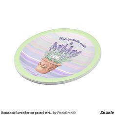Romantic lavender on pastel striped bg custom text paper plate Paper Napkins, Paper Plates, Paper Plate Design, House Cake, Personalized Buttons, Disposable Plates, Party Tableware, Party Accessories, Shabby Chic Style