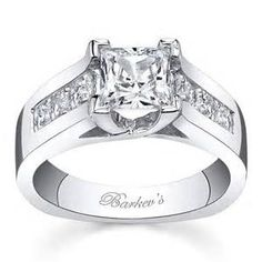 ... Barkev's 14K White Gold Princess Cut Channel Set Wide Engagement Ring