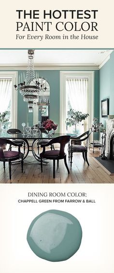 Love everything about this room. The wall color, and the chair color and design. The 8 Best Paint Colors of the Year -- One Kings Lane Blue Rooms, Room Colors, New Homes, Interior Design, Dining Room Colors, Home, Interior, Dining Room Blue, Home Decor