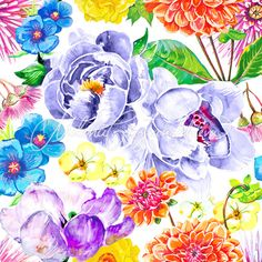 Watercolor floral series for fabric, wallpapers, wall decals, gift wrap and art prints.