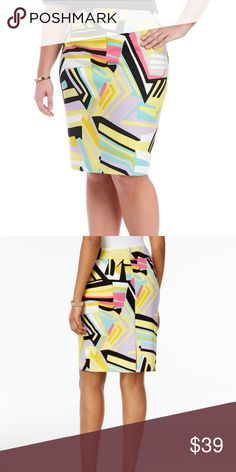 Nine West Plus Sz Printed Pencil Skirt Lemon Multi Streamline your look while adding fashionable flair with this Printed Slim Skirt by Nine West. Easily create work-ready ensembles when you pair this pretty piece with your favorite blouses and heels for a look that will carry you from desk to dinner effortlessly. Zip closure Lined lining is shorter than overlay Crepe fabric Nine West Skirts Pencil