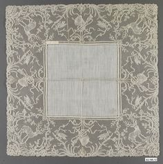 Handkerchief Date: 1889–1902 Culture: French Medium: Linen, bobbin lace