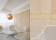 Authentic. Human. Vibrant. Painted groove in the plywood walls.  Ippolito Fleitz Group