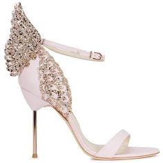 Womens High-Heel Sandals Sophia Webster Evangeline Light Pink Angel... ($680) ❤ liked on Polyvore featuring shoes, sandals, heels, leather shoes, leather high heel sandal, glitter shoes, open toe sandals and strappy sandals