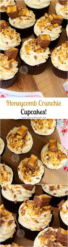 :heart: Chocolate Cupcakes, Honey Buttercream Frosting, and Cadbury's Crunchie Bars… Hello Honeycomb Crunchie Cupcakes! Come and see our new website at bakedcomfortfood. Cupcake Recipes, Baking Recipes, Cupcake Cakes, Dessert Recipes, Cupcake Icing, Cupcake Ideas, Yummy Treats, Delicious Desserts, Sweet Treats