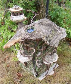 I made this fairy house from materials that I found in the woods behind my house.  It has a light inside and can be lit up at night.