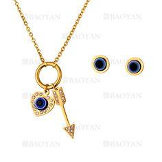 juego collar y aretes de ojos especial azul en acero dorado -SSNEG503261