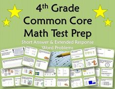 4th Grade Common Core Math Test Prep Packet.   Packet includes a range of test prep topics in both multiple choice and extended, short answer response varieties. Perfect for a review, a homework/vacation packet, classwork, partner work, or small group work.  Answer Key and Common Core State Standards included.