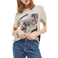 Women's Topshop Blurred Tulle Detail Tee ($35) ❤ liked on Polyvore featuring tops, t-shirts, cream multi, tulle top, flower top, flower t shirt, cream t shirt and cream top