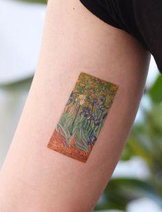Van Gogh - Irises tattoo by saegeemtattoo Aa Tattoos, Korean Tattoos, Future Tattoos, Black Tattoos, Body Art Tattoos, Small Tattoos, Cool Tattoos, Tatoos, Piercings