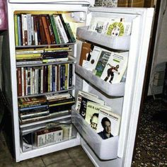 REFRIGERATOR BOOKSHELVES! Recycle! You really shouldn't give me these kind of ideas. They tempt me so :-)