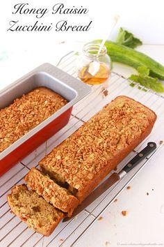Honey Raisin Zucchini Bread is the BEST zucchini bread around! by www.cookingwithruthie.com #recipe #zucchini