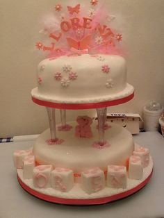 This is a christening  cake I made for my granddaughter x