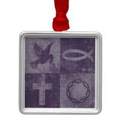 Symboles chrétiens ornement carré argenté