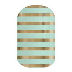 """Jamberry Nail Wraps """"Mint Green and Gold Stripe"""""""