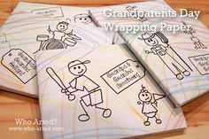 Grandparents Day Gift Wrap! Let your children create their own wrapping paper! Great idea for Grandparents Day, Christmas, Birthdays... The possibilities are endless!