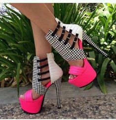 Buy Alluring Contrast Color PU Cut-Outs Stiletto Heel Dress Sandals at Wish - Shopping Made Fun Pretty Shoes, Beautiful Shoes, Cute Shoes, Me Too Shoes, Hot Heels, Sexy Heels, Stiletto Heels, Pink Heels, Strappy Heels