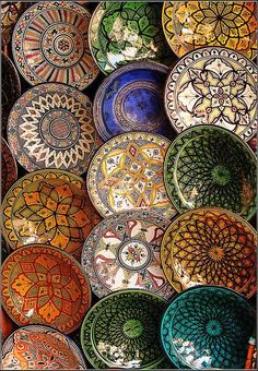 Plates for sale in the Marrakech souks- Morocco on imgfave