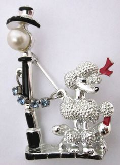 Dog Brooch  Dog Jewelry Vintage Brooch  Poodle and by annswhimsey,