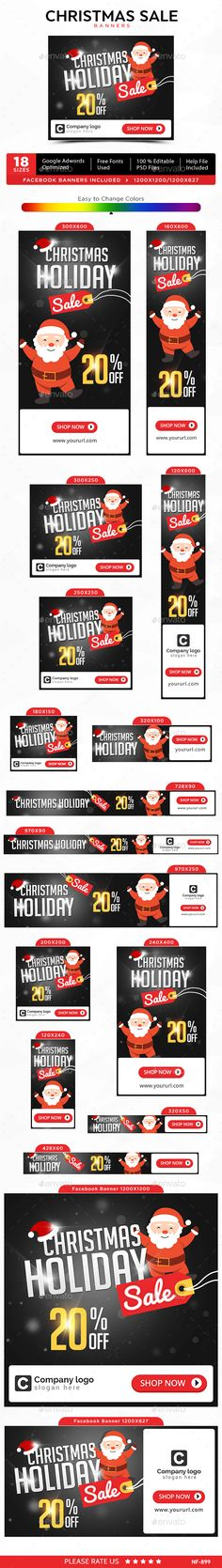 Christmas Sale Web Banners Template PSD #design #ads #xmas Download: http://graphicriver.net/item/christmas-sale-banners/13963859?ref=ksioks