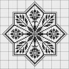 could be an awesome centre start colourwork pattern for a top. Biscornu Cross Stitch, Cross Stitch Needles, Cross Stitch Charts, Cross Stitch Designs, Cross Stitch Embroidery, Embroidery Patterns, Cross Stitch Patterns, Blackwork, Filet Crochet