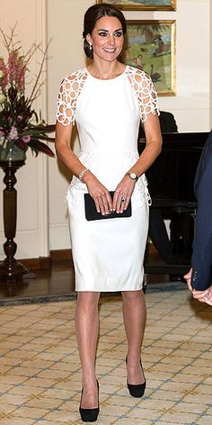 Happy birthday, Kate Middleton. This white Lela Rose dress is one of our many favorite looks of hers.