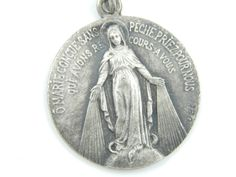 Vintage French Miraculous Medal Catholic Medal - Silver Our Lady of Grace…