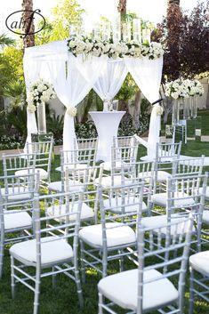 backyard wedding, purple and white, Las Vegas wedding, ceremony decor