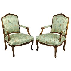 Pair of Louis XV Walnut Fauteuil a la Reine | From a unique collection of antique and modern armchairs at http://www.1stdibs.com/furniture/seating/armchairs/