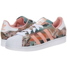 adidas Originals Superstar W Women's Classic Shoes featuring polyvore, fashion, shoes, athletic shoes, sneakers, adidas, flats, tenis, leather lace up shoes, leather flats, laced shoes, herringbone shoes and laced flats