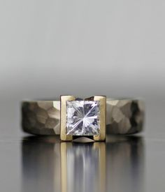 Lodestar modern engagement ring with square moissanite  by lolide