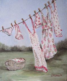 Original Whimsical Painting - Washing Day - Gail McCormack