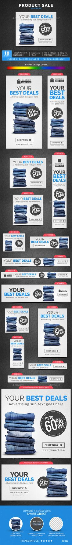 Product Sale Web Banners Template PSD #design #ads Download: http://graphicriver.net/item/product-sale-banners/13496386?ref=ksioks