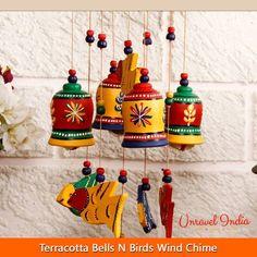 Unravel India Terracotta Bells n Birds Wind Chime Bottle Painting, Bottle Art, Bottle Crafts, Worli Painting, Ganesha Painting, Hanging Pots, Diy Hanging, Rock Crafts, Clay Crafts