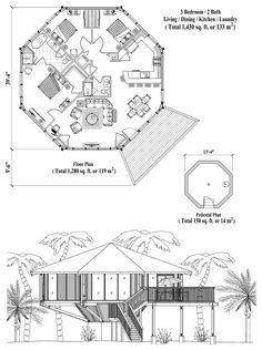 Online House Plan: 1430 sq. ft., 3 Bedrooms, 2 Baths, Pedestal Collection (PD-0523) by Topsider Homes.