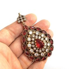 1pc Antique Bronze with Red and Clear Crystal Rhinestone by 1dream