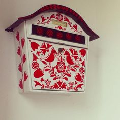 Hungarian private mailbox with the special Hungarian embroidery motives Embroidery Patterns, Print Patterns, Hungarian Embroidery, Post Box, Chain Stitch, Folk Art, Illustration Art, Red And White, Charms