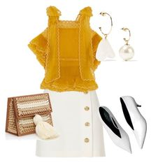 """""""Mustard"""" by isabelvg ❤ liked on Polyvore featuring River Island, Chloé and Simone Rocha"""