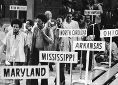 Rev. Jesse Jackson Sr. marches into the National Black Political Convention in Gary, Ind. in 1972. (Gene Pesek/Chicago Sun-Times)