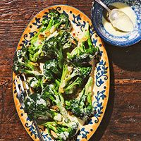 From Every Day With Rachael Ray, creamy garlic sauce with broccoli.