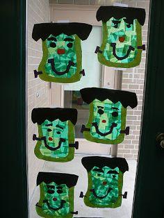 Halloween Frankenstein window art