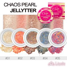 Lioele Chaos Pearl Jellyter is made up of Crystal Fixing Polymers that sustains well against water, and sweat! These long lasting eyeshadows apply smoothly onto your eyelids and give you a natural shimmer. Representing a galaxy of glittery stars these eyeshadows will surely brighten up your mood with each application!  	   	Benefits:   	 		Pigmented 	 		Natural Shimmer 	 		Long Lasting 	 		Waterproof   	   	How to apply: For a soft pearl color apply the product several times with fingers w.....