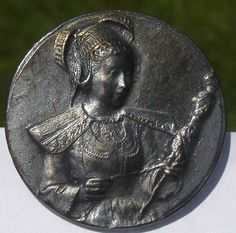 """SCARCE~OLD WORLD INTERNATIONAL LADY~-1940s PEWTER~VINTAGE ANTIQUE PICTURE BUTTON  Measures just over 1"""" PEWTER BUTTONS ARE FROM 1940'S """"NEW STOCK""""  SOLD $66.99"""